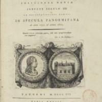 """Frontespizio del Catalogo Stellare """"Præcipuarum stellarum inerrantium positiones mediæ ineunte seculo 19. ex observationibus habitis in specula Panormitana ab anno 1792 ad annum 1802"""" di Giuseppe Piazzi"""