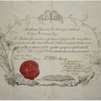 Diploma dell'Accademia Gioenia di Scienze Naturali di Catania a Giuseppe Piazzi
