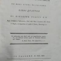 Della specola astronomica de' regj studj di Palermo libri quattro di Giuseppe Piazzi c.r.