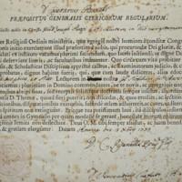 Nomina a Lettore di Filosofia e Matematica di Padre Piazzi presso il Collegio dei Nobili di Ravenna, da parte di Gaetano Pisanelli, Superiore dell'Ordine dei Teatini<br /><br />